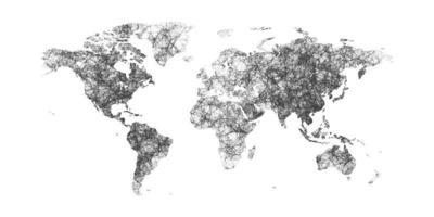 Weltkarte mit Ländergrenzen mit Punkten und Linien. Plexus-Weltkarte lokalisiert auf weißem Hintergrund. vektor