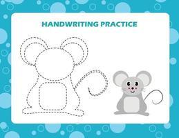 Verfolgen Sie die Linien mit der Cartoon-Maus. Schreibfertigkeiten üben. vektor