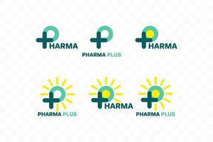 p-logotyp, p med plus- och sun-logotyp. medicinsk logotyp