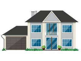 die Fassade eines Hauses mit Büschen und einem Baum auf einem weißen Hintergrund. Das Gebäude hat zwei Etagen und einen Balkon. vektor