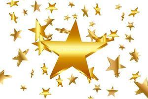 fallender goldener Stern. Wolke der Sterne lokalisiert auf transparentem Hintergrund. Vektorillustration
