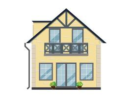 die Fassade eines Hauses mit Blumen auf einem weißen Hintergrund. Das Gebäude hat zwei Etagen und einen Balkon. vektor