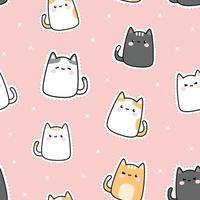 niedliches molliges Kätzchen-Katzenkarikatur-Gekritzel nahtloses Muster vektor