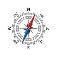 Kompasswindroseikone lokalisiert auf weißem Hintergrund. vektor