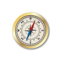 realistischer Kompass lokalisiert auf weißem Hintergrund.