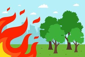 Feuer in der Nähe von Bäumen verbreiten. Feuersturm. flache Vektorillustration. vektor