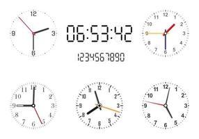 uppsättning analoga och digitala urtavlor på vit bakgrund. klockhänder. vektor