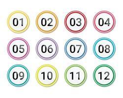 Anzahl Aufzählungspunkte 1 bis 12 auf weißem Hintergrund isoliert. Anzahl Aufzählungspunkt Kreis Farbverlauf Web Icons Vorlage. vektor