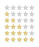 gyllene och silverstjärnor. Ikon för 5 stjärnor.