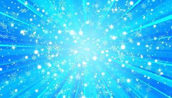 weißer Schnee fliegt und Sonne auf einem blauen Hintergrund. Weihnachtsschneeflocken. Winter Schneesturm Hintergrund Illustration. vektor