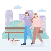 Frauen, die den Hund mit Gesichtsmasken gehen vektor