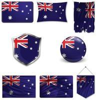 Satz der Nationalflagge von Australien in verschiedenen Designs auf einem weißen Hintergrund. realistische Vektorillustration. vektor