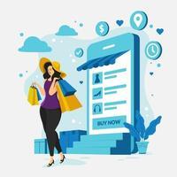 kontaktlös shopping med applikation vektor