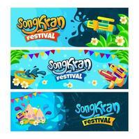 Songkran festival banner samling vektor