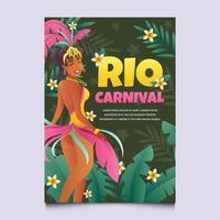 Karneval Rio de Janeiro mit Mädchen im Kostüm vektor