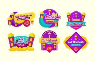 eid mubarak etikettsamling vektor