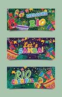 Brasilien Rio de Janeiro Karneval Banner Vorlagen vektor