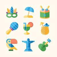 Rio de Janeiro Karneval im flachen Icon-Design vektor