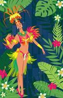 Rio Karneval Tänzer mit schönen Kostüm vektor