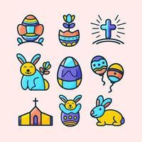 påsk festlighet ikonuppsättning