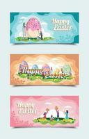 Happy Easter Day Festival Banner Vorlagen vektor