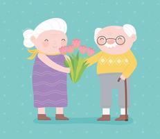 glücklicher Großelterntag, Oma mit Blumen und Opa mit Gehstockcharakter-Zeichentrickfilmkarte vektor