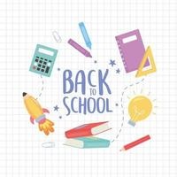 Zurück zum Schulbanner mit Bildungssymbolen