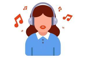 ikon för en flicka i hörlurar med musik som spelas. platt vektorillustration isolerad på vit bakgrund vektor