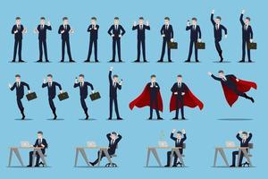 platt designkoncept av affärsman med olika poser, arbetar och presenterar process gester, handlingar och poser. vektor tecknad karaktär designuppsättning.
