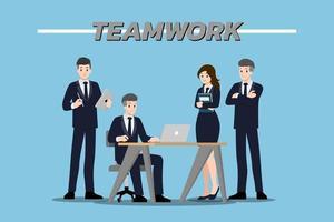 Flaches Designkonzept von Geschäftsmann und Geschäftsfrau Teamwork mit verschiedenen Posen, Arbeiten und Präsentieren vektor