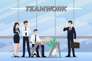 flaches Designkonzept von Geschäftsmann und Geschäftsfrau Teamarbeit mit verschiedenen Posen, Arbeiten und Präsentieren vektor