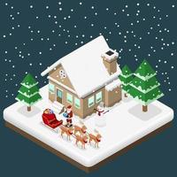 Der isometrische Weihnachtsmann 3d bringt ein Geschenk von seinen vier Rentieren und seinem Schlitten im Weihnachtsthema ins Haus vektor
