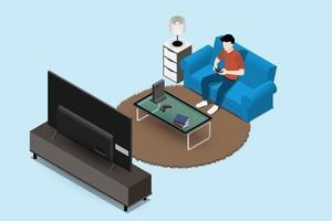 Manncharakter, der eine Spielekonsole auf großem LED-Fernsehbildschirm spielt und auf Sofa in einem Wohnzimmer für Unterhaltung im modernen Hausinnenraumkonzept sitzt. Vektor flach isoliert Illustration Design.