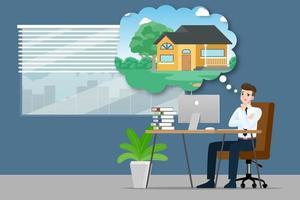 affärsman som tänker eller drömmer om att köpa ett nytt vackert modernt hus. vektor