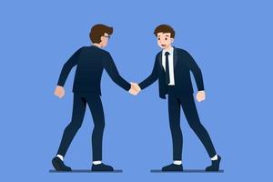 glückliche selbstbewusste Geschäftsmanncharaktere geben sich die Hand. Geschäftsleute treffen sich zuerst und begrüßen mit festem Händedruck im Geschäftspartnerschaftskonzept. flache Zeichenvektorillustration. vektor