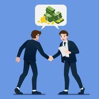 Geschäftsmann Händeschütteln. Geschäftsleute machen einen Deal über das Geldinvestitionskonzept mit isometrischen Münzen und Gelddollar im Bubble-Chat-Gespräch. Vektorillustration im flachen Karikaturstil.