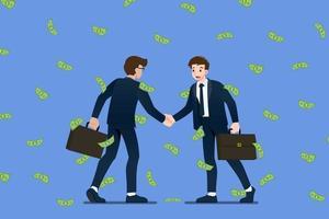 erfolgreicher Geschäftsmann Händeschütteln. Geschäftsleute, die Erfolg haben, handeln über das Geldinvestitionskonzept in Regentropfen von Münzen und Dollar-Banknoten. Vektorillustration im flachen Karikaturstil.