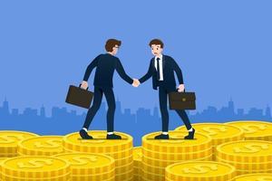 erfolgreicher Geschäftsmann Händeschütteln. Geschäftsleute, die Erfolg haben, befassen sich mit dem Geldinvestitionskonzept für Gebäude mit großen Geldmünzen. Vektorillustration im flachen Karikaturstil.