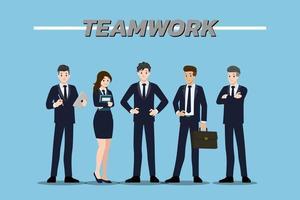 Flaches Designkonzept von Teamarbeit von Geschäftsmann und Geschäftsfrau mit verschiedenen Posen, Arbeiten und Präsentieren von Gesten, Aktionen und Posen. Vektor Cartoon Charakter Design-Set.