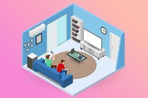par män karaktär spelar en spelkonsol på stor LED-skärm tv och sitter på soffan i ett vardagsrum för underhållande i modernt hus interiör koncept. vektor platt isolerad illustration design.