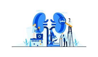Nierenerkrankung Vektor flache Illustration Bluttest Zuckerspiegel Arztforschung für die Behandlung Konzeptdesign