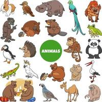Cartoon Wildtier Charaktere großen Satz vektor