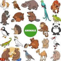 tecknade vilda djur karaktärer stor uppsättning vektor