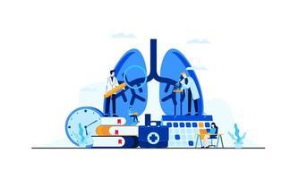 Lungenkrankheit Vektor flache Illustration Arztforschung für die Behandlung Konzeptdesign