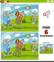 Unterschiede Lernspiel mit Kindern im Park spielen vektor