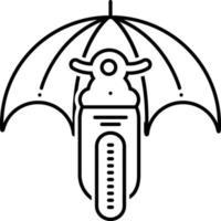 linje ikon för motorcykelförsäkring vektor