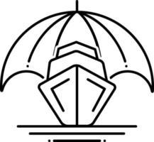 linje ikon för båtförsäkring vektor