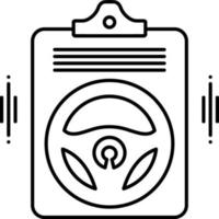 linje ikon för bilförsäkring vektor