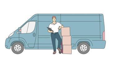 leverans, kurir servicekoncept. leverans kurir man håller paketet med leverans lastbil. platt vektorillustration vektor