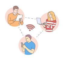 junge Menschen Gesichter, Online-Social-Media-Kommunikationskonzept. Mann und Frau mit Tablet-Telefon Laptop. Inhalte und Menschen über Chat verbunden. vektor